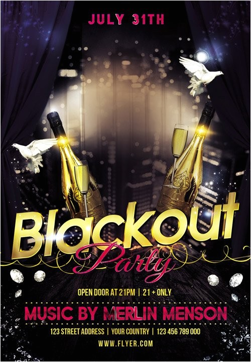 flyer psd template blackout party cover