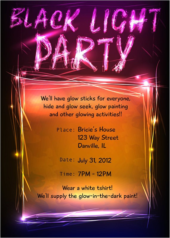 black light party invitation