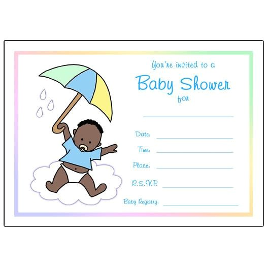 umbrella baby shower invitations fill in boy