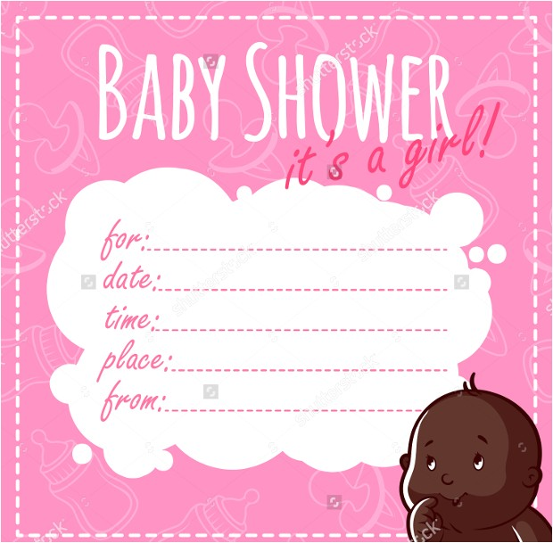 collectionbdwn blank baby shower girl invitations
