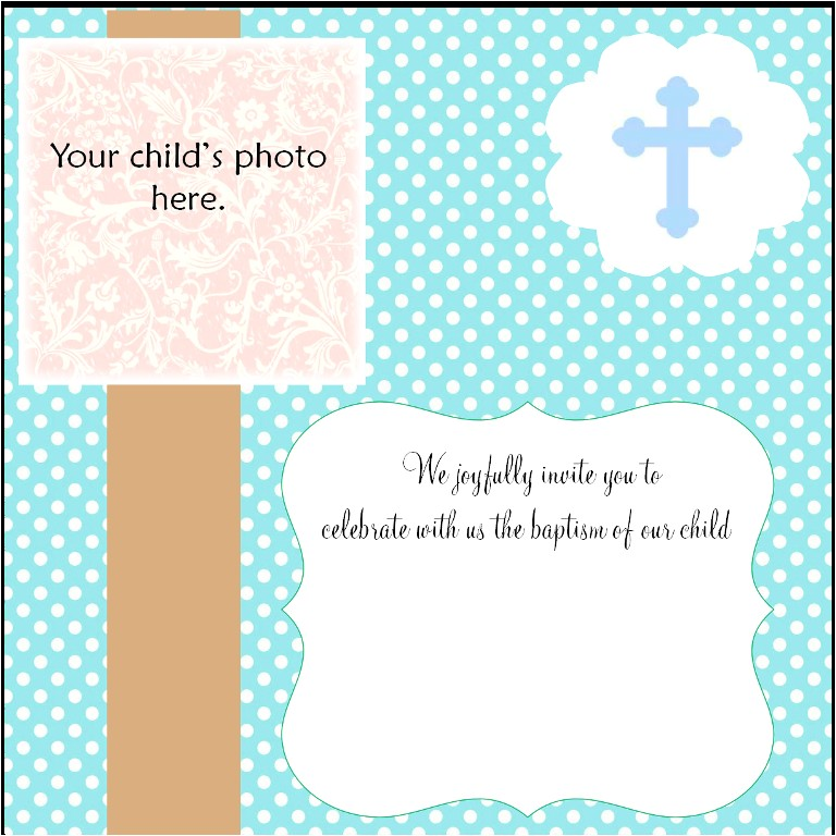Blank Baptismal Invitation Layout Free Christening Invitation Cards