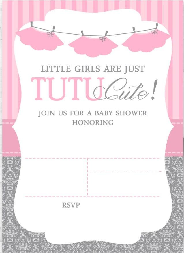 cute ballerina baby shower invitations free