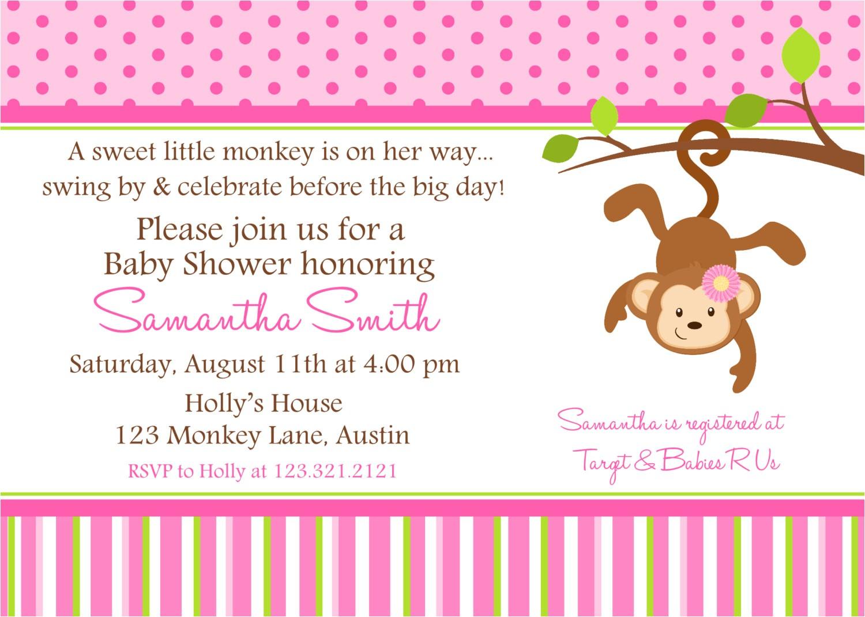 monkey baby shower invitation ideas