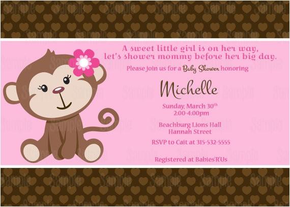 printable printed monkey baby shower invitation