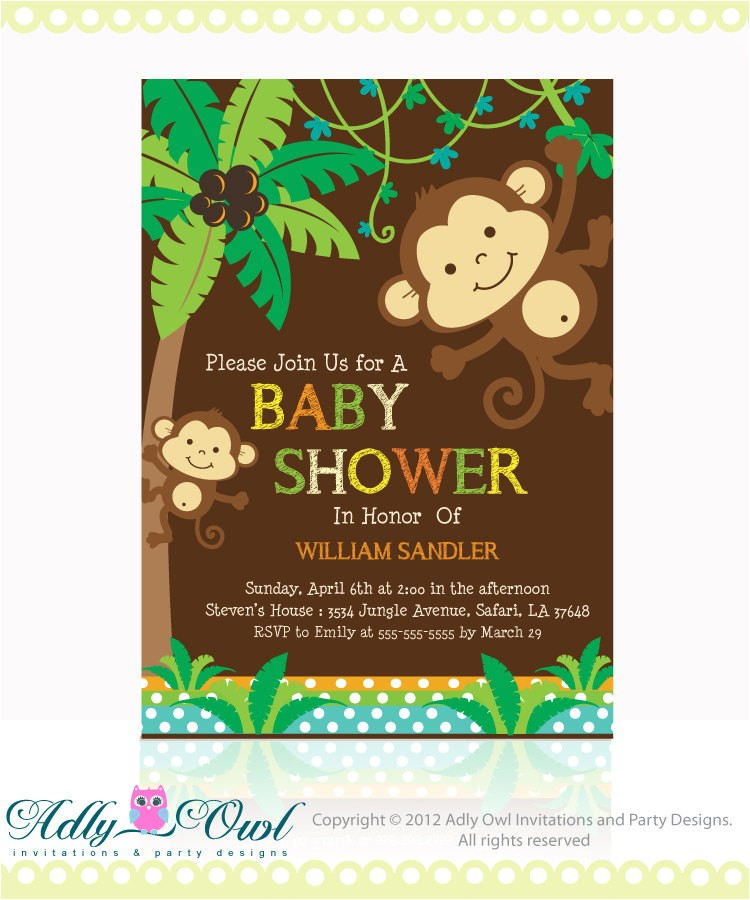 personalized brown jungle monkeys baby