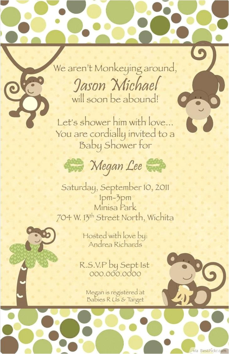 blank monkey baby shower invitations jungle