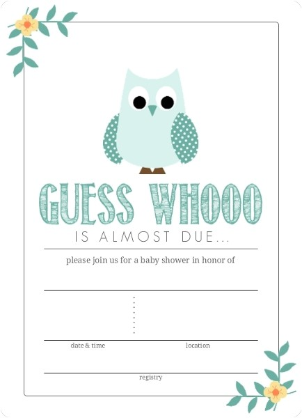 teal blue owl fill in the blank baby shower invitation