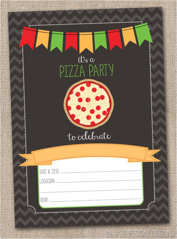 instant download pizza party invitation