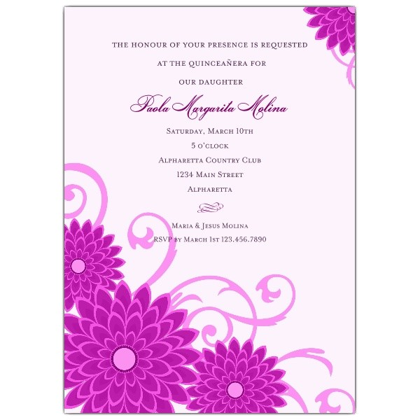 dahlias purple quinceanera invitations p 615 57 202