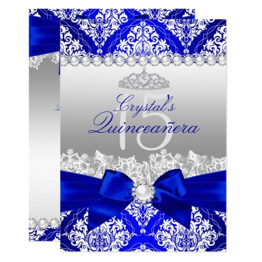 royal blue damask pearl bow quinceanera invite 161433232709678020