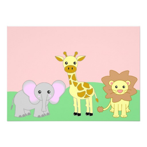 "Blank Safari Baby Shower Invitations Jungle Baby Animals Baby Shower Invitations Blank 5"" X 7"