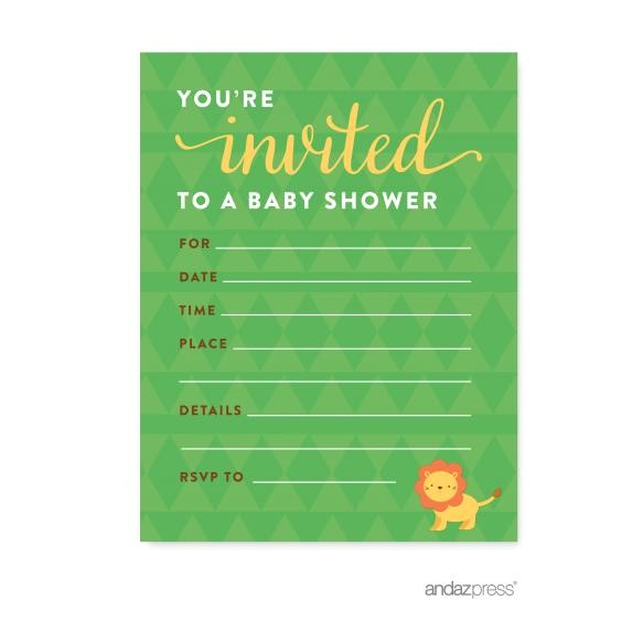 Jungle Safari Baby Shower Blank Invitations