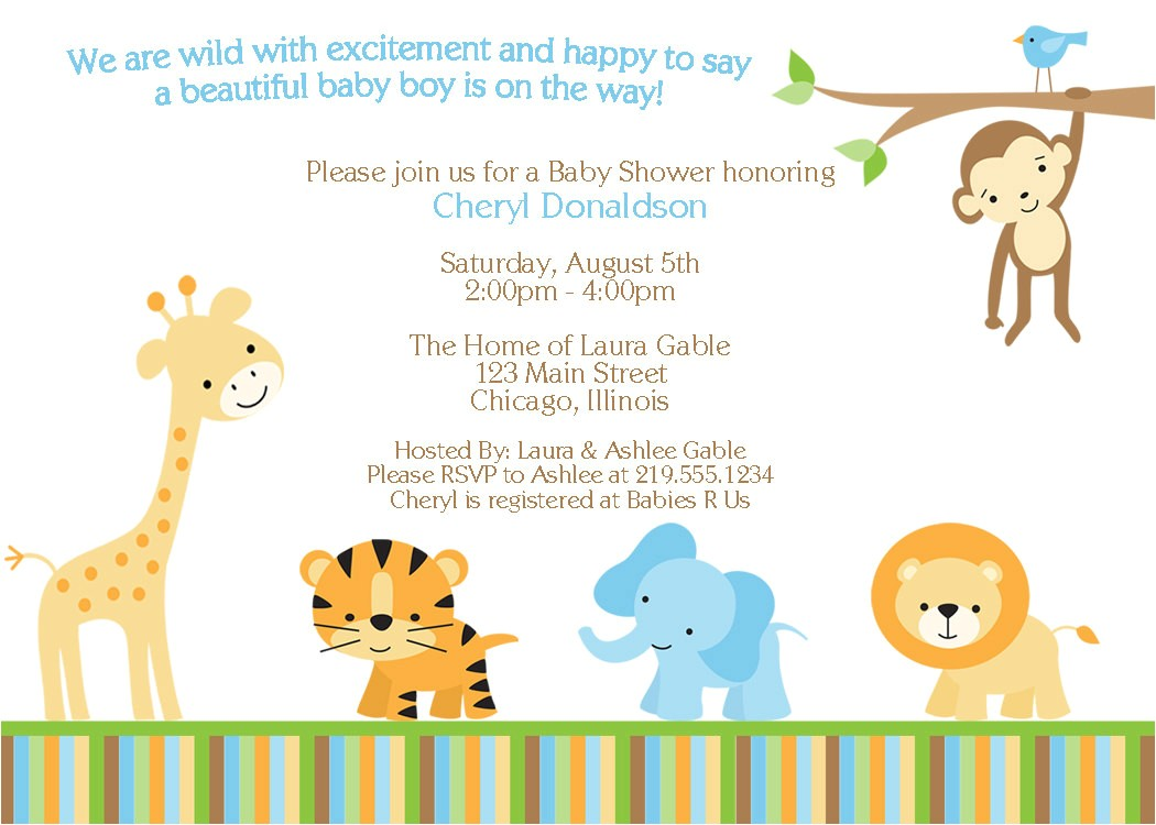 blank owl baby shower invitations jungle