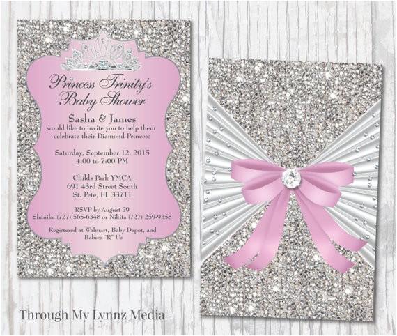 Bling Baby Shower Invitations Bling Baby Shower Invitations Diamond Princess Baby Shower