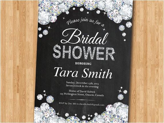 bridal shower invitation bling glam glitter diamond bridal