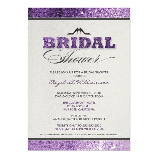 glitter bling bridal shower invitation purple