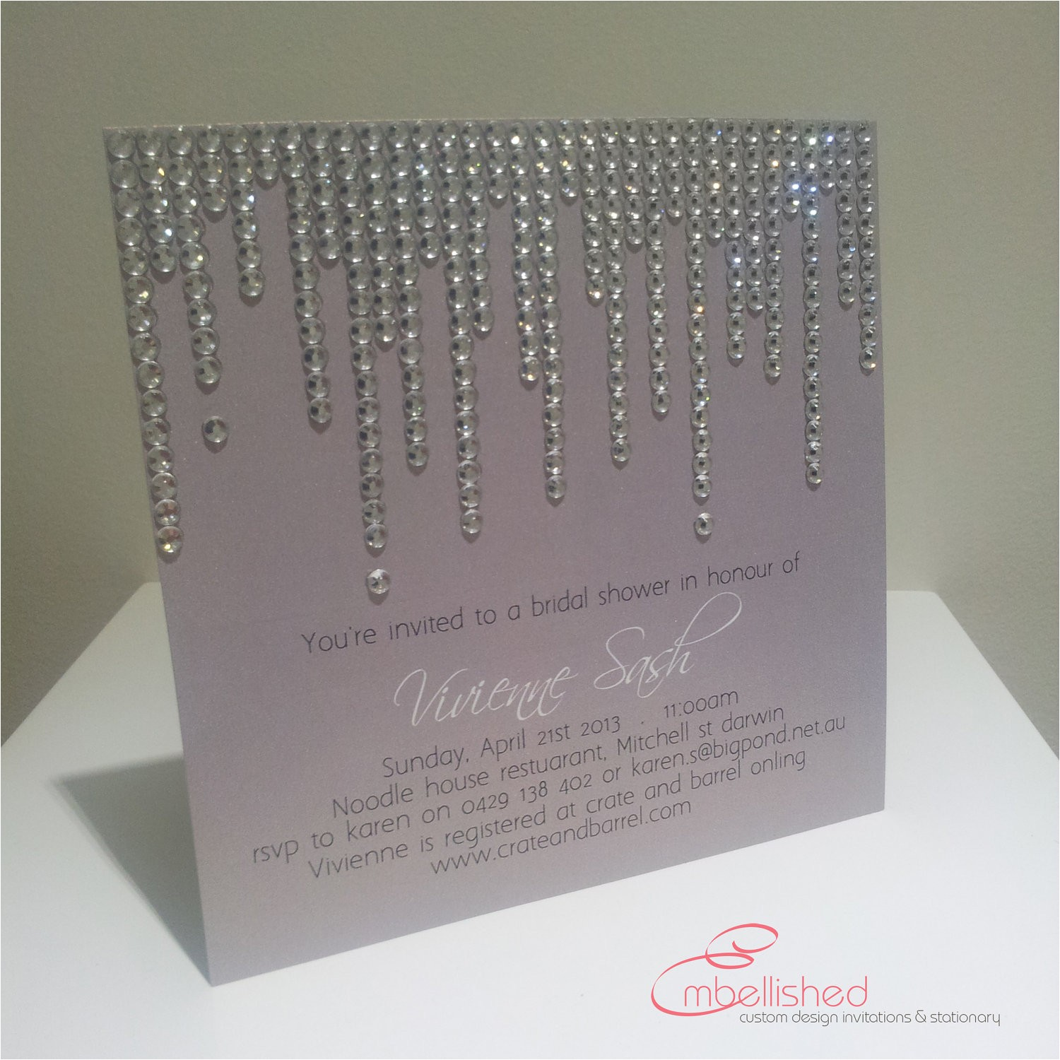 bridal shower invitation with crystal