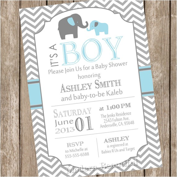 Blue and Gray Elephant Baby Shower Invitations Blue and Gray Baby Shower Invitation Elephant by