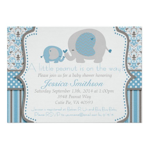 blue and gray elephant baby shower invitation