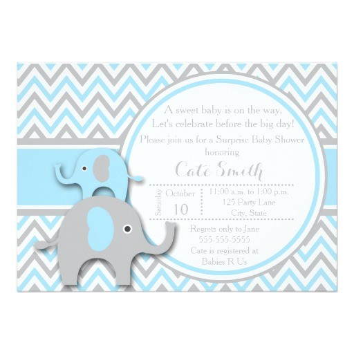 elephant baby shower invitations blue and gray card