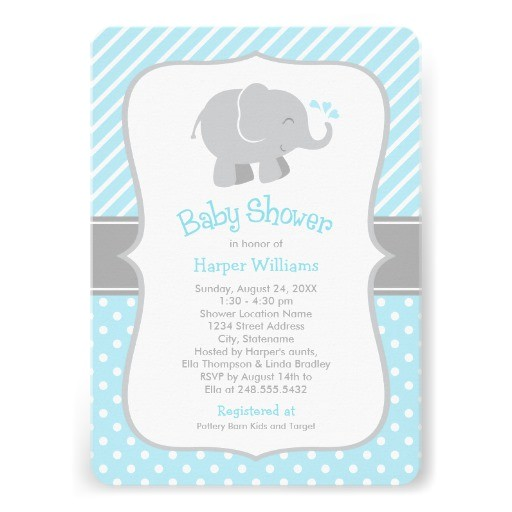 elephant baby shower invitations blue and gray