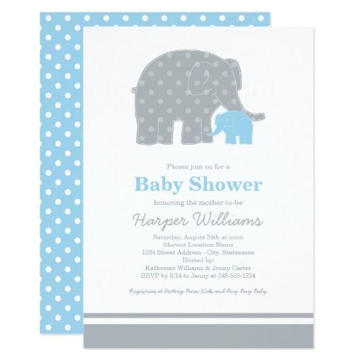 elephant baby shower invitations light blue gray