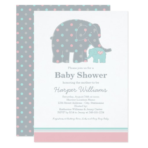 elephant baby shower invitations pink blue gray