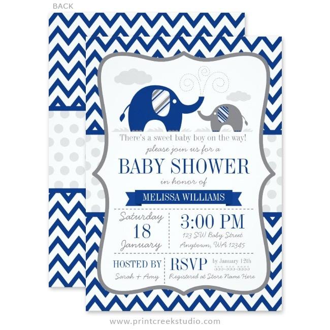 navy blue gray elephant baby shower invitations