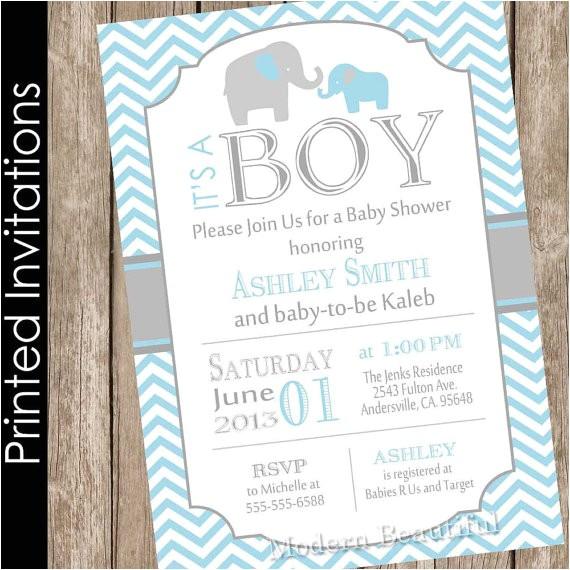 printed boy elephant baby shower invitation 3