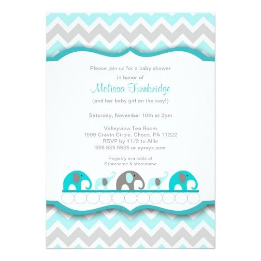 turquoise blue gray elephant baby shower invites