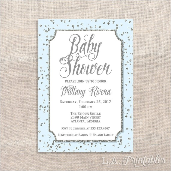 blue and silver baby shower invitation
