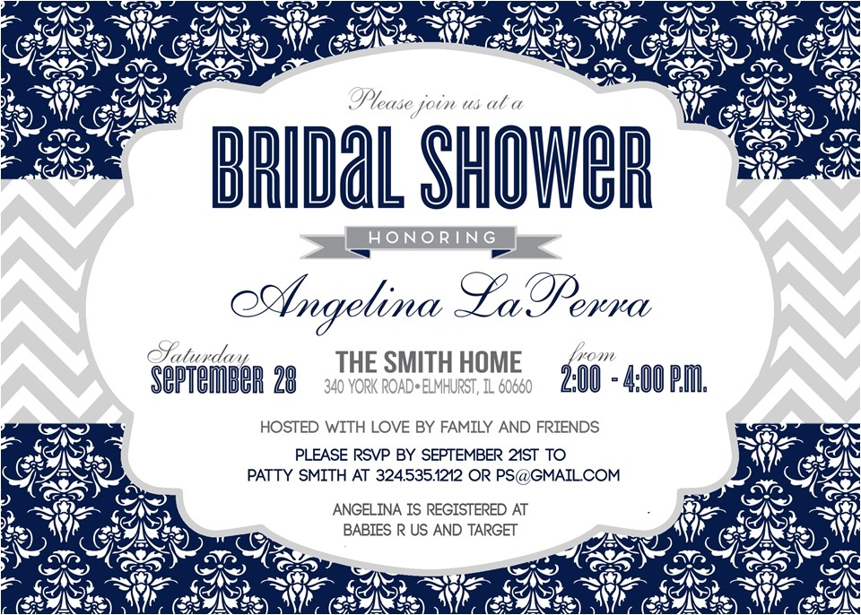 damask navy blue silver baby shower bridal shower invitation