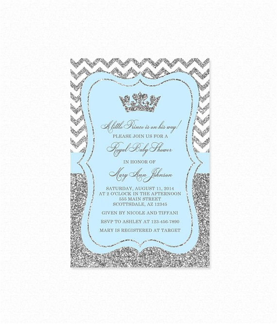 prince baby shower invitation sky blue