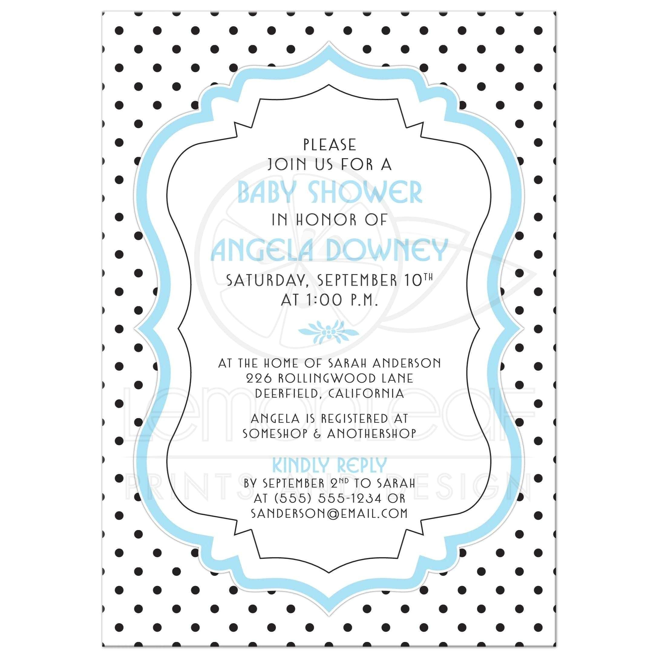 baby shower invite chic retro black white polka dots blue