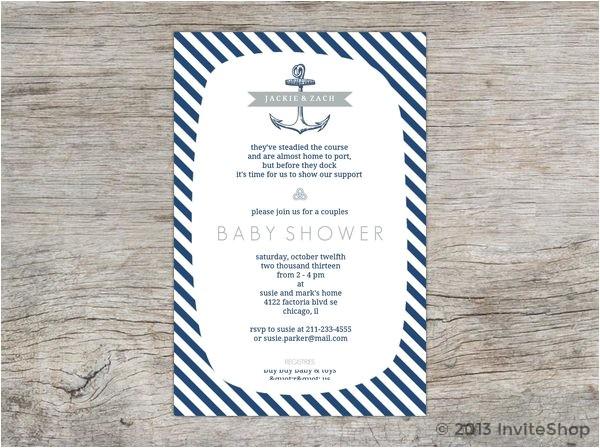 classic blue white nautical baby shower invitation