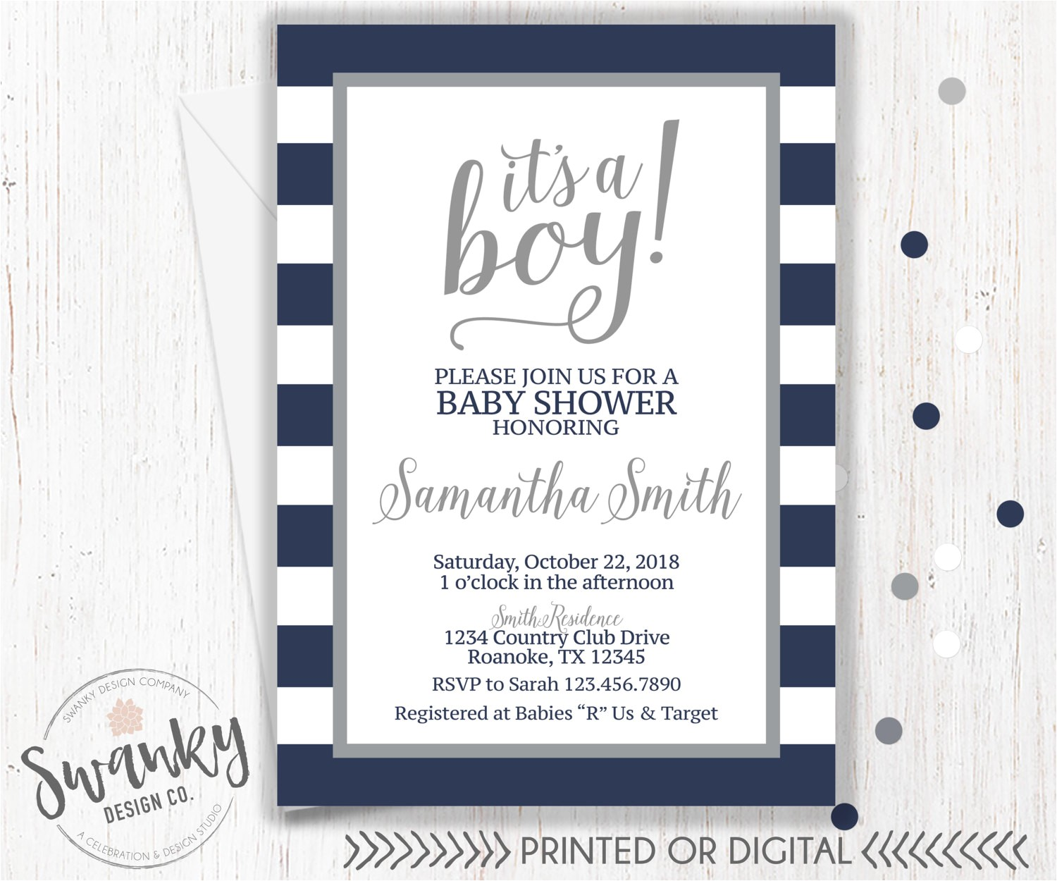 navy and gray baby shower invitations