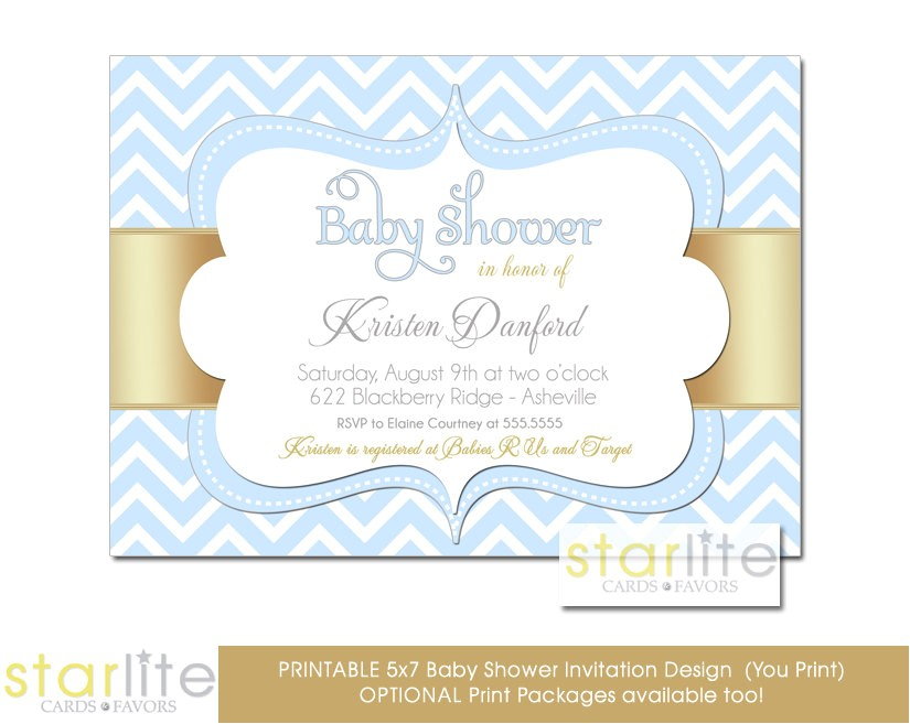blue and gold baby shower invitations