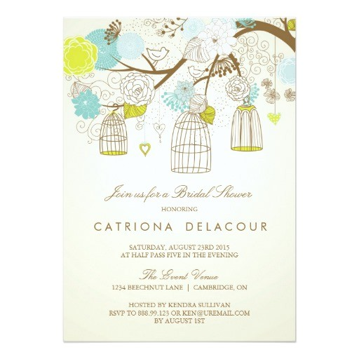 blue and yellow birdcages bridal shower invitation