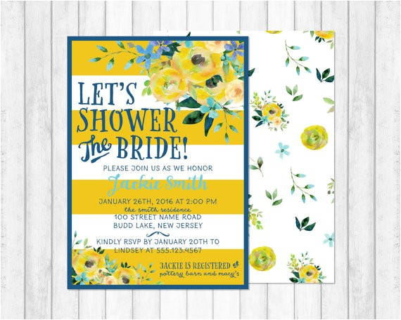bridal shower invitation blue and yellow