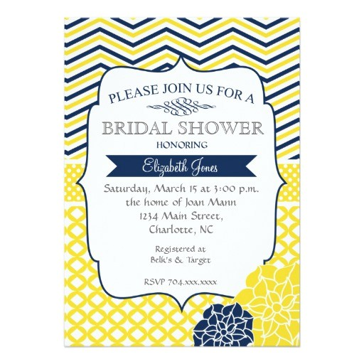 navy blue and yellow bridal shower invitation