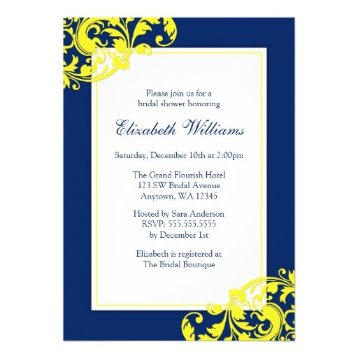 navy blue and yellow flourish swirls bridal shower invitation