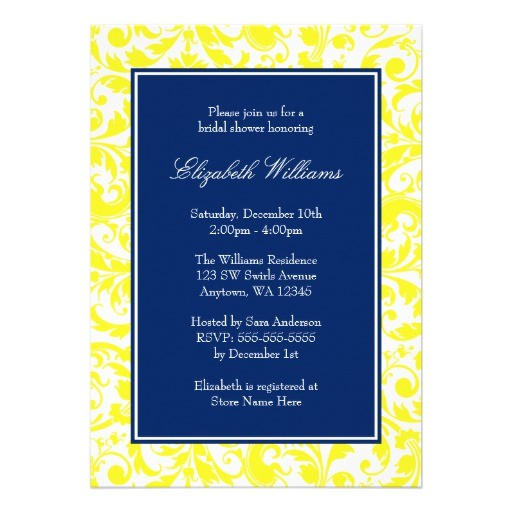 navy blue and yellow swirls damask bridal shower invitation