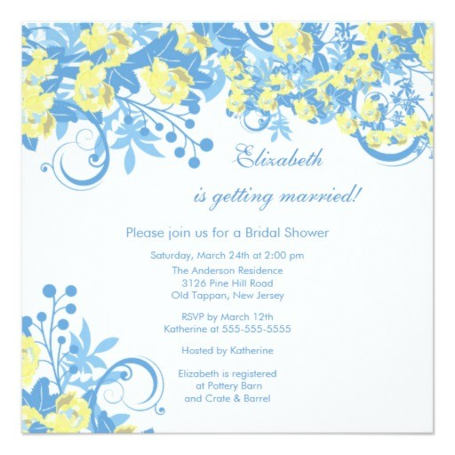 spring floral bridal shower invitation yellow blue