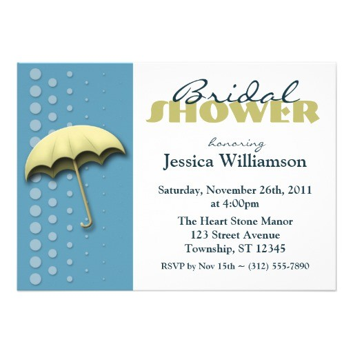 umbrella blue yellow bridal shower invitations