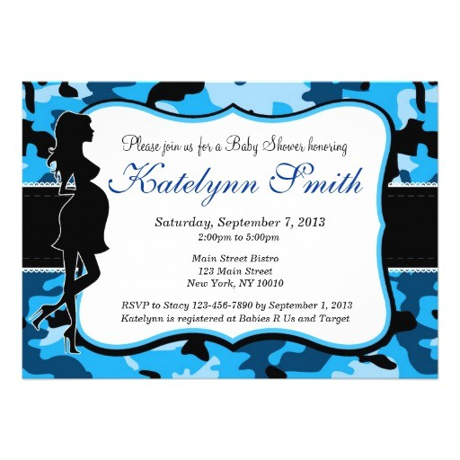 blue boy camouflage baby shower invitation
