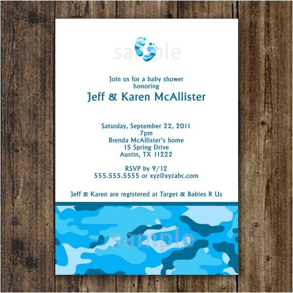 blue camo baby shower invitation