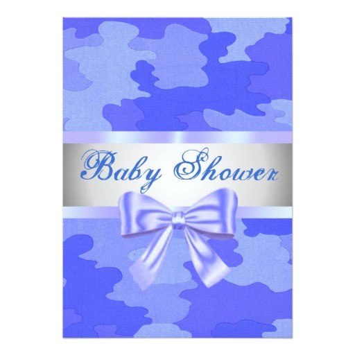 blue camouflage blue bow baby shower invitation