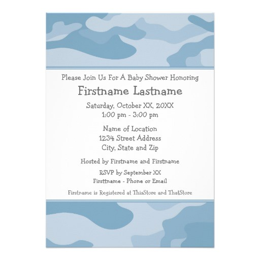 camo baby shower or party light blue invitation