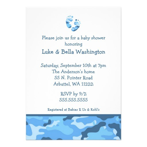 "Blue Camo Baby Shower Invitations Camo Blue Baby Feet Shower Invitation 5"" X 7"" Invitation"