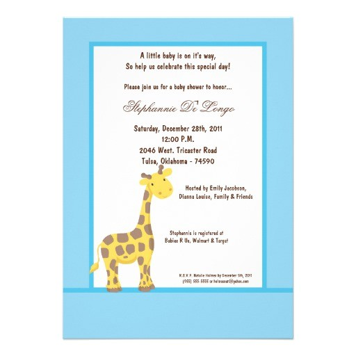 5x7 blue giraffe baby shower invitation